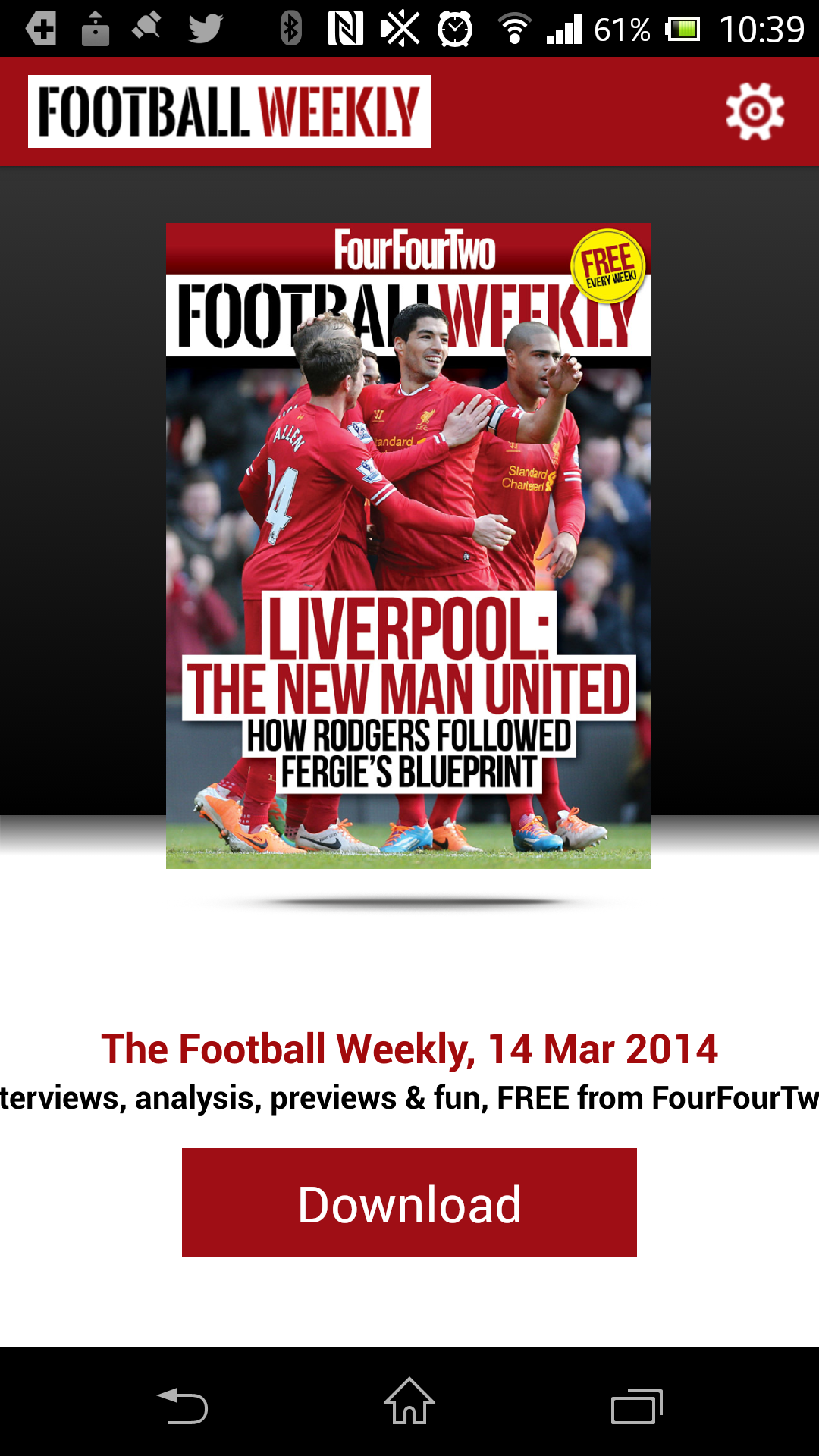 FourFourTwo Launches Free Weekly Footie App