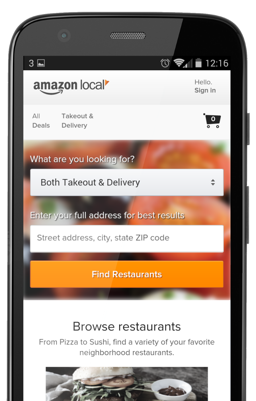 Amazon Trials Local Takeaway Delivery Service