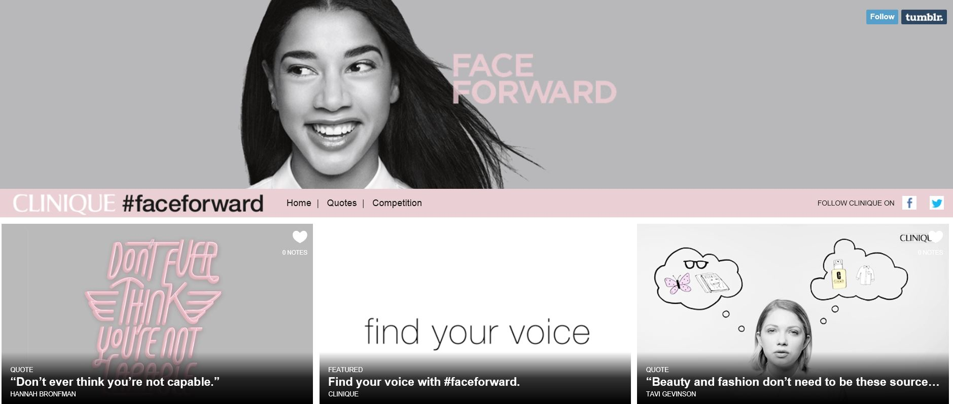 Clinique Turns to Yahoo and Tumblr for #FaceForward Campaign