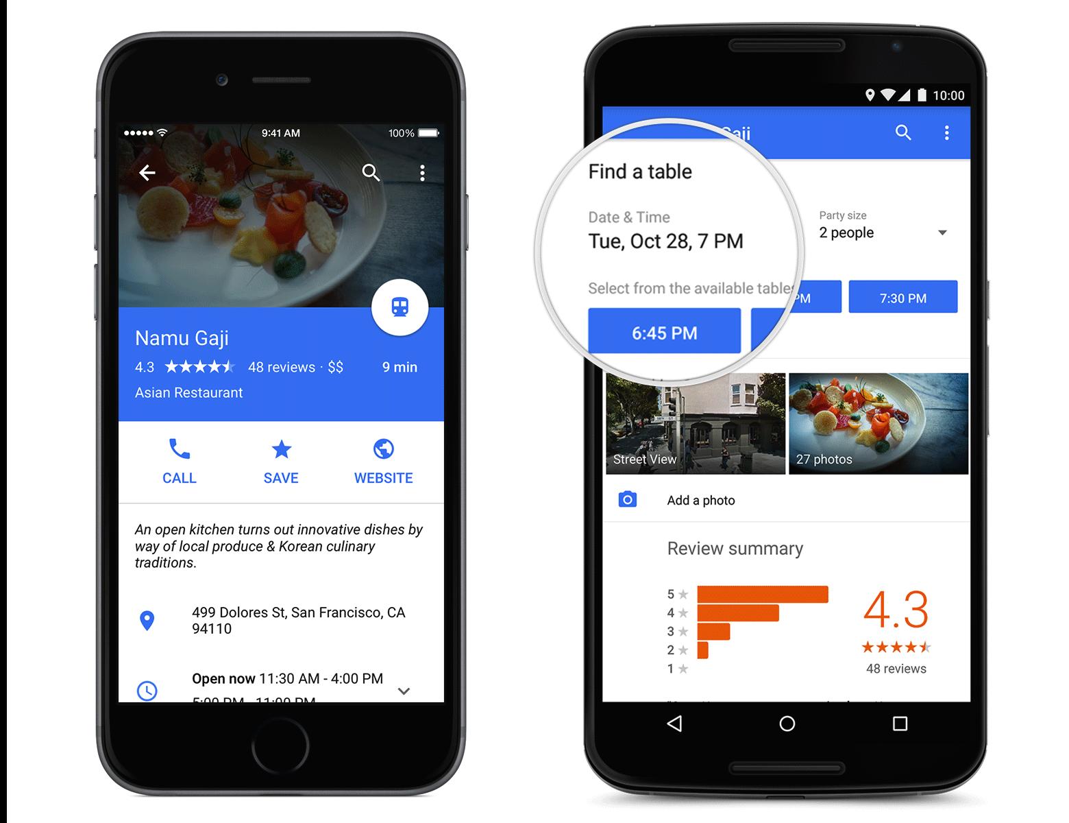Redesigned Google Maps App Adds Restaurant Reservations