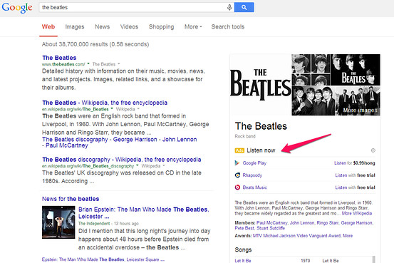 Google Tests 'Listen Now' Music Ads with Spotify, Beats and More