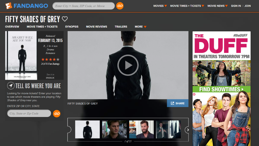 Mobile Dominates Fandango with Fifty Shades of Grey Sales