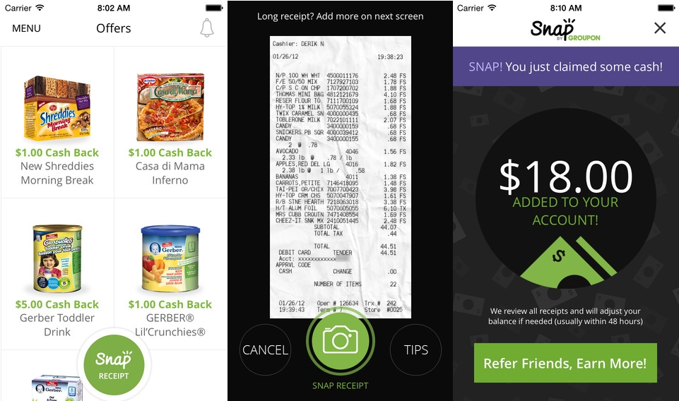 Groupon Launches Snap App for Cash-back on Groceries