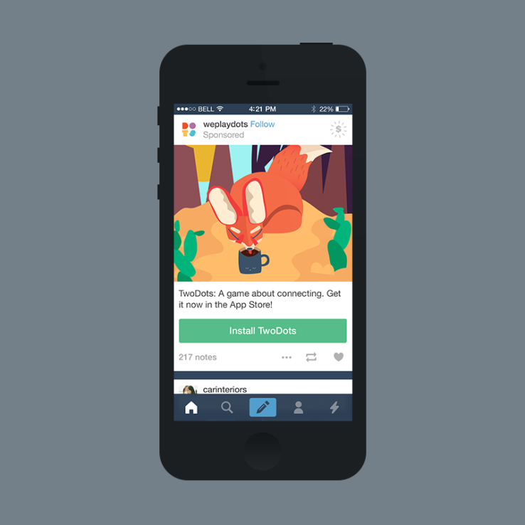 Tumblr Introduces Mobile App Install Ads Through Sponsored Posts