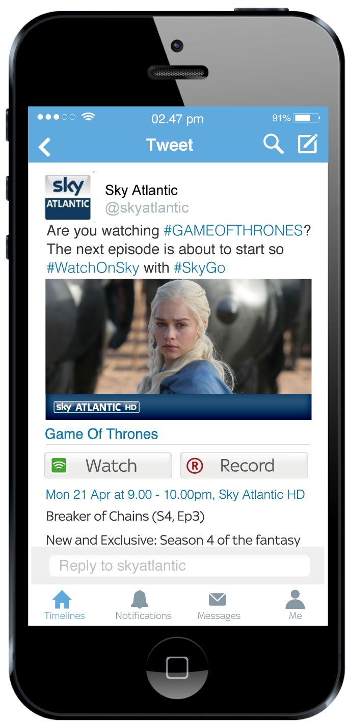 Sky and Twitter Team Up for #WatchOnSky Offering