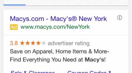 Macy's Mobile Search Screenshot