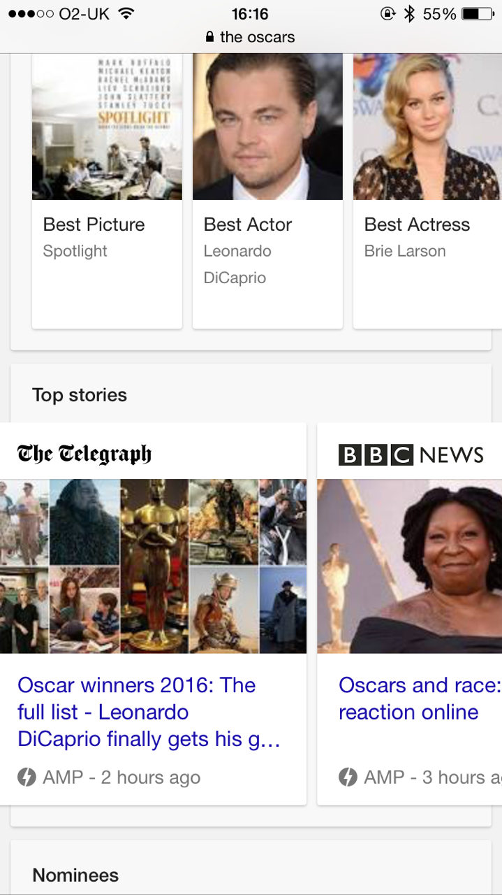 Google Highlights Accelerated Mobile Pages in Search Results