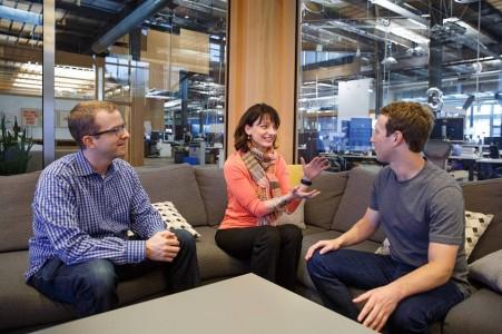 (L-R) Mike Schroepfer, CTO of Facebook, Dr Regina Dugan and Mark Zuckerberg