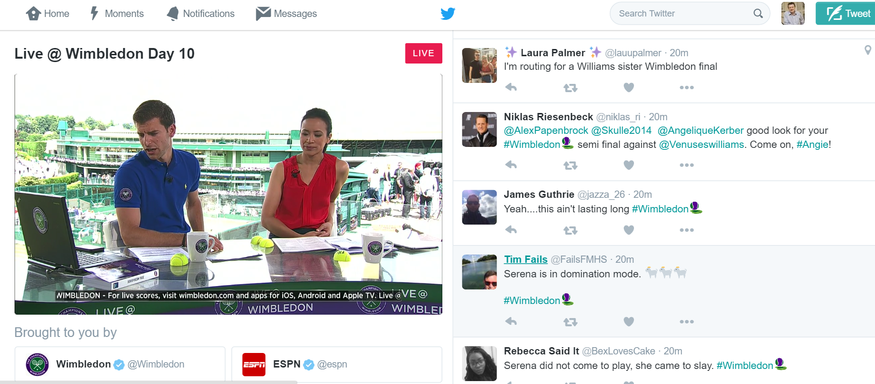 Twitter Livestreaming From Wimbledon