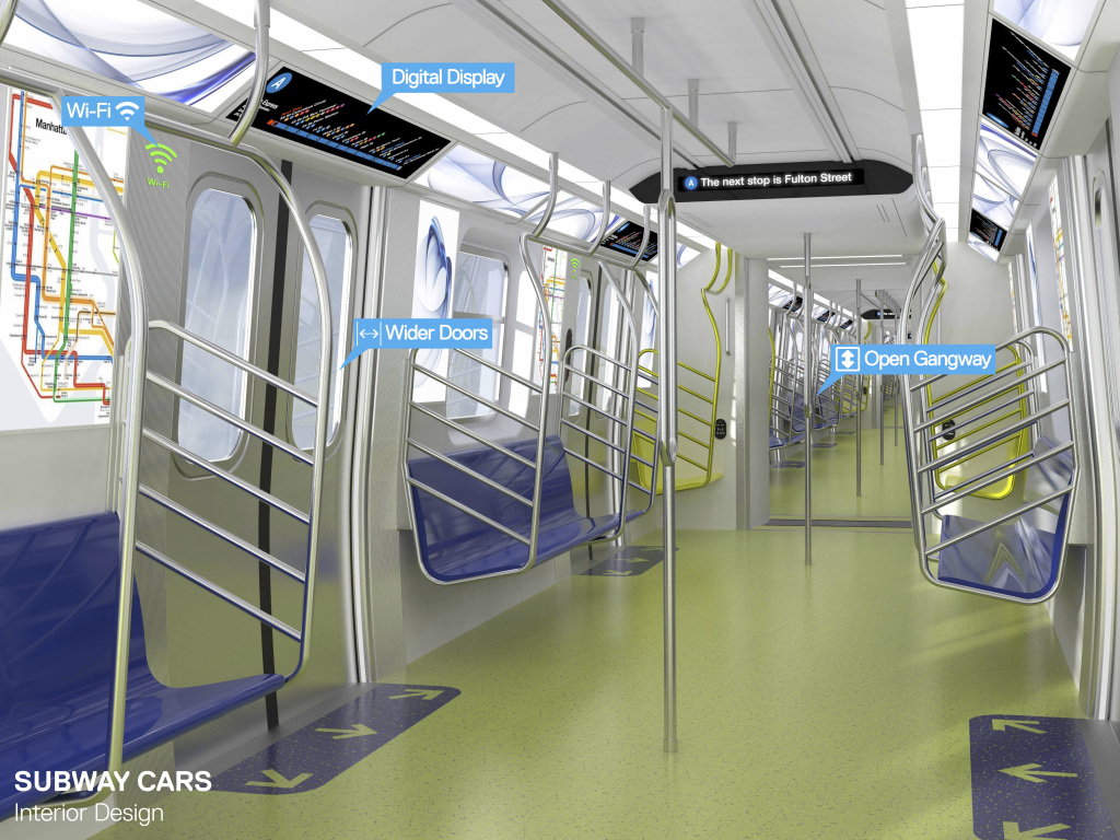 New York's New Subway Cars Include Digital Display, Wi-fi and USB Charging