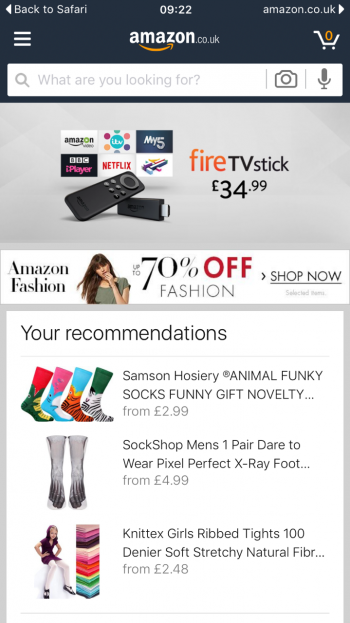 Amazon mobile site Aug 2016