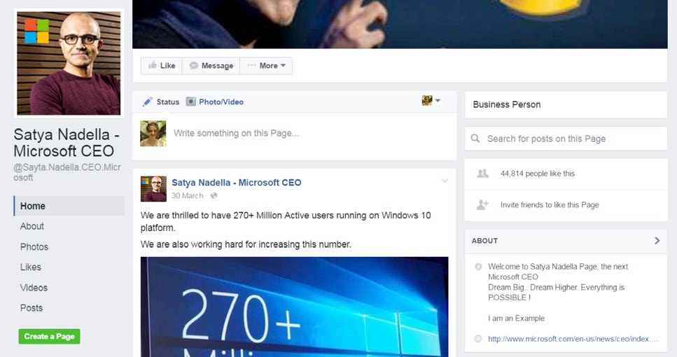 A fraudulent page impersonating Microsoft CEO Satya Nadella, which has nearly 45,000 followers