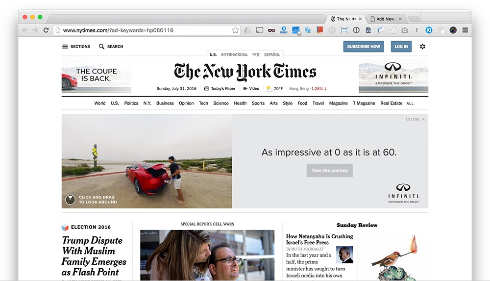 New York Times Showcases 360 Video on Masthead Ad Spot