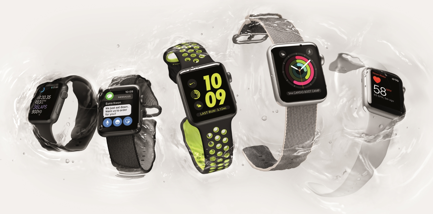 Apple Watches in water