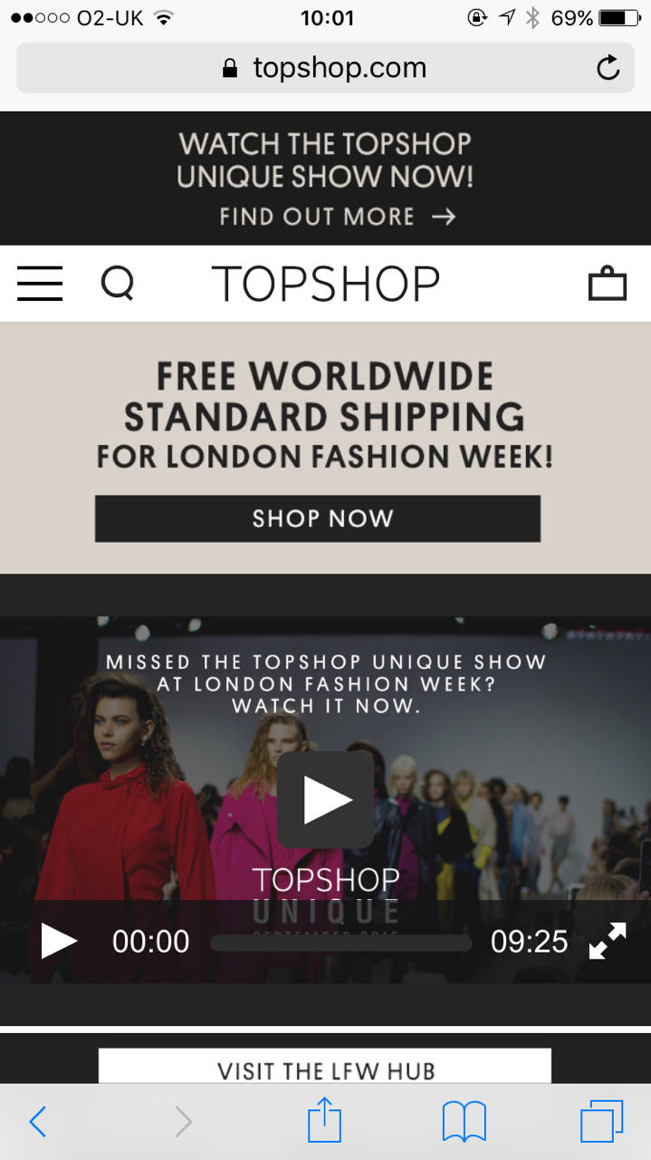 Topshop mobile site