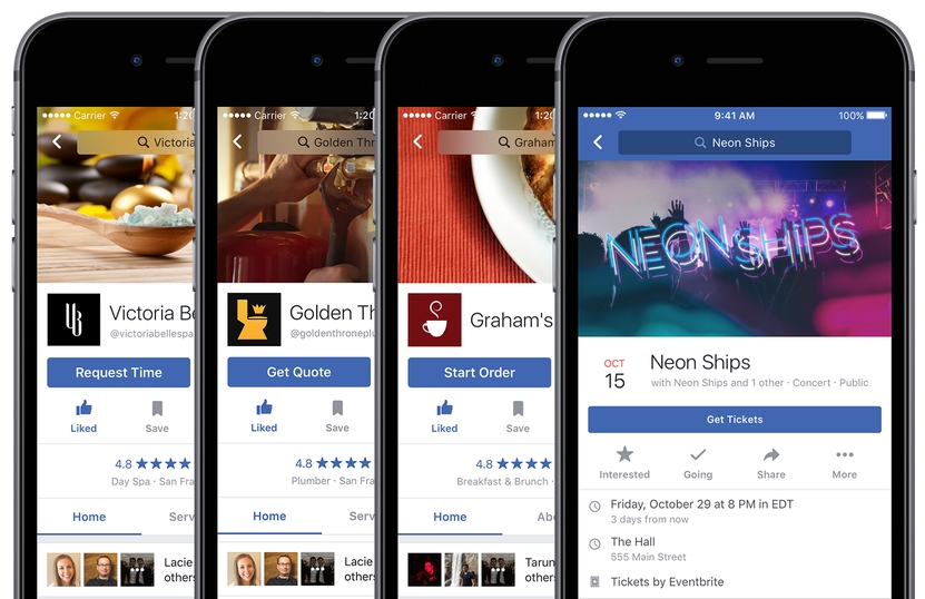 Facebook Adds Food Delivery and Ticket Ordering to Pages