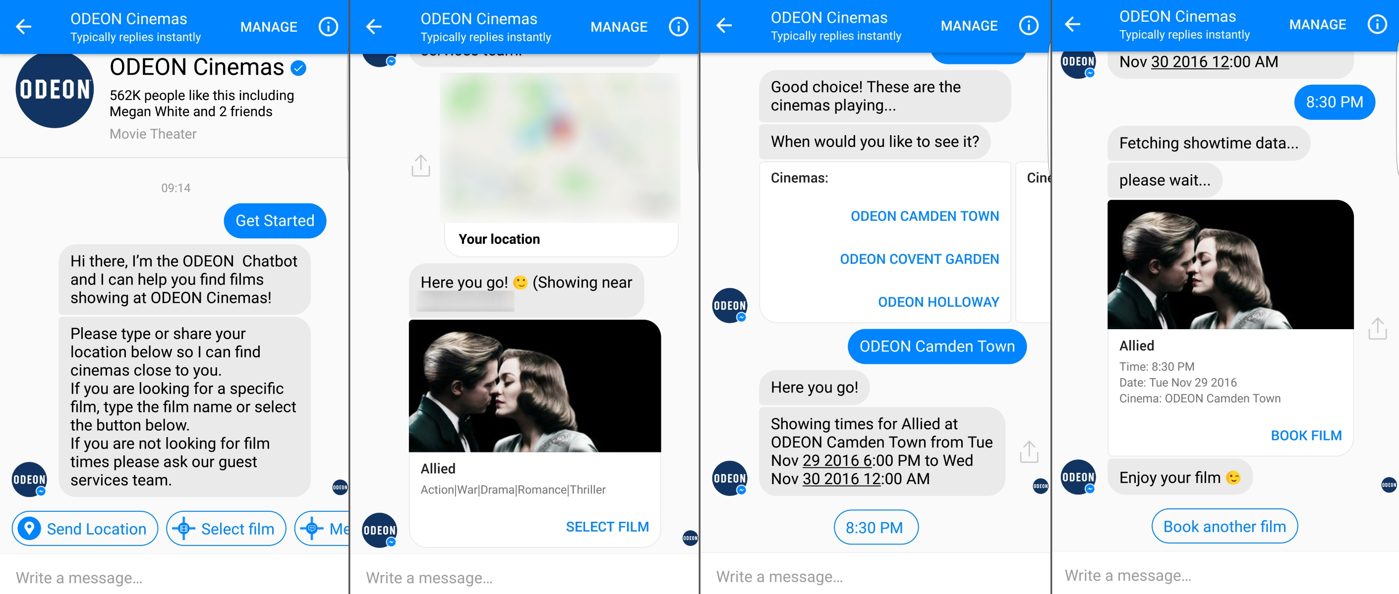 Odeon Chatbot Screenshots