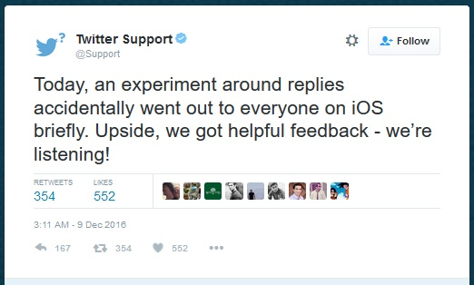 Twitter @-Reply Update Meets Resistance for iOS Users