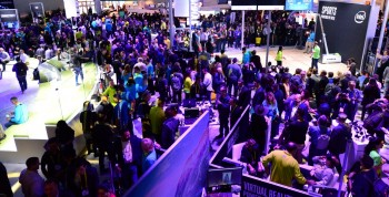 Crowds gather Thursday, Jan. 5, 2017 at the Intel Corporation booth during the 2017 International Consumer Electronics Show. The event runs from Jan. 5 to Jan. 8, 2017, in Las Vegas. (CREDIT: Walden Kirsch/Intel Corporation)