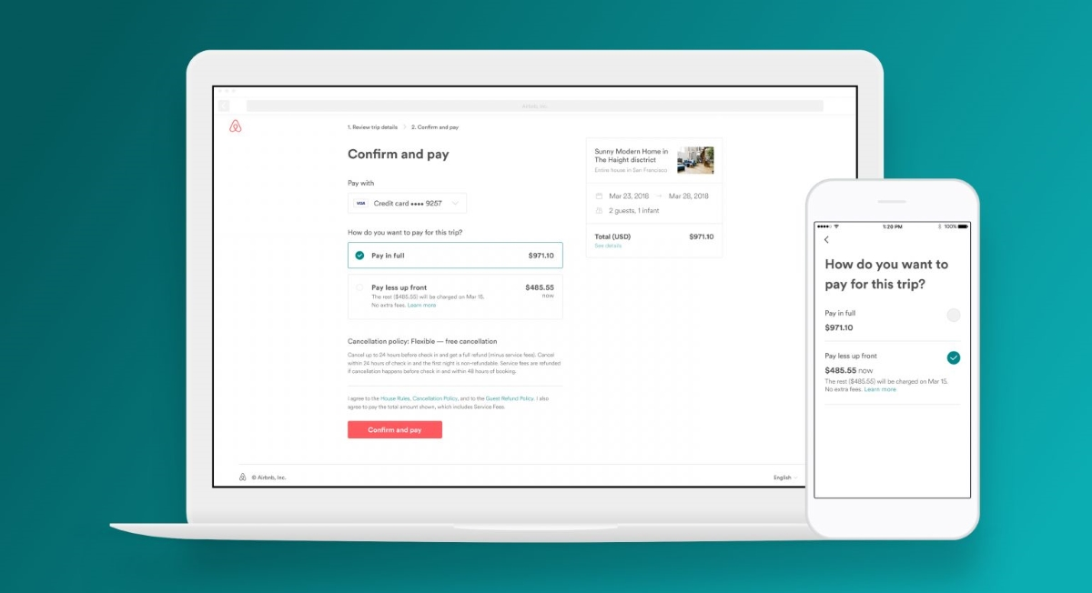 Airbnb introduced an option to pay part deposit when booking