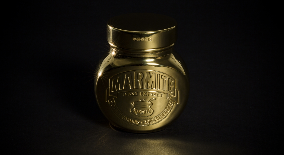 Marmite 18ct Gold plated jar