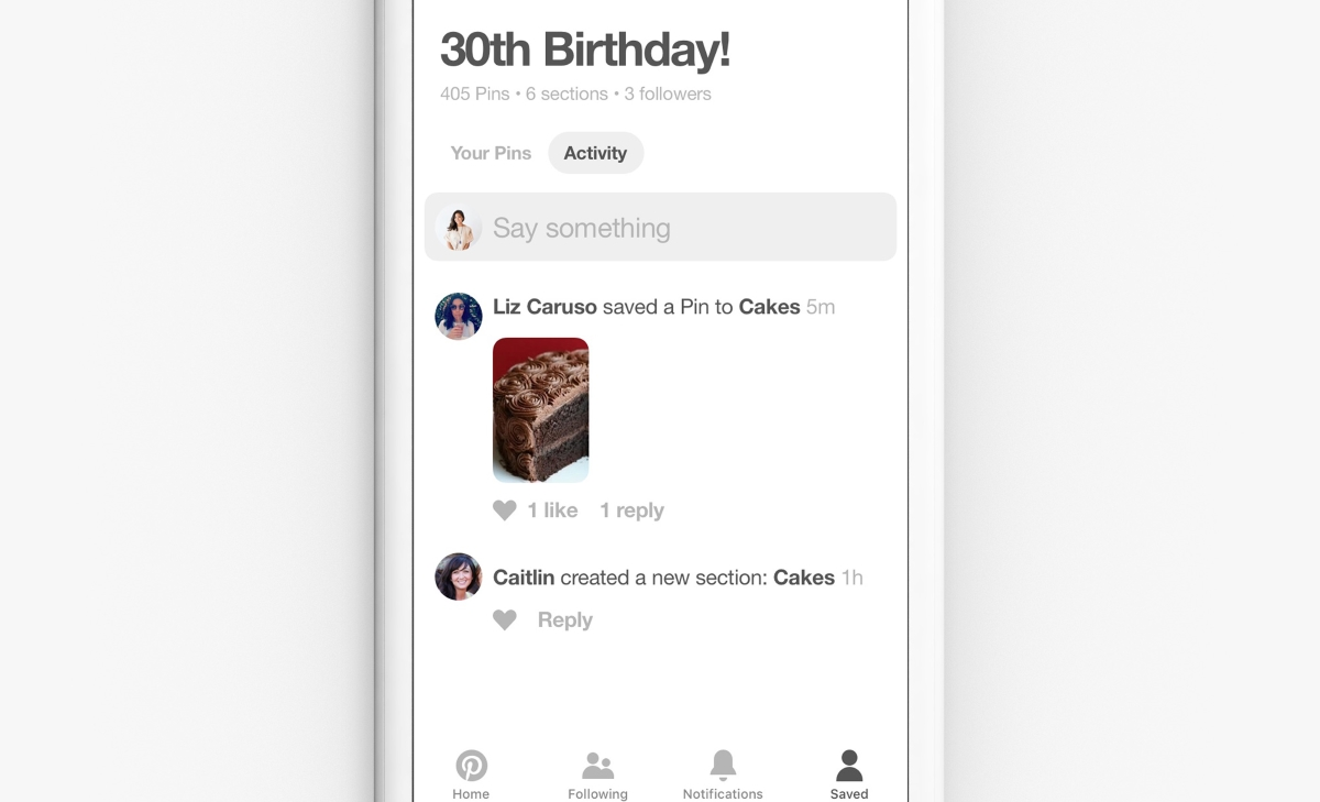 Pinterest group activity feed