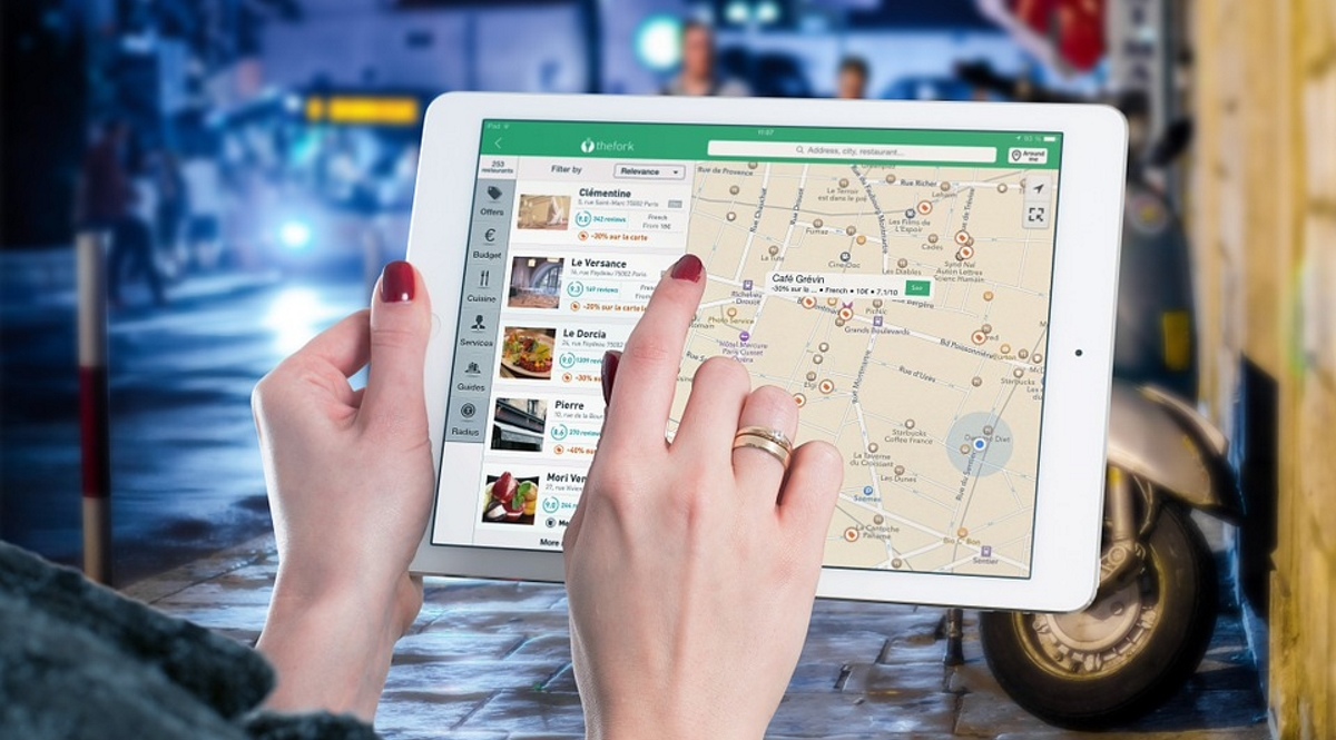 Restaurant search iPad tablet