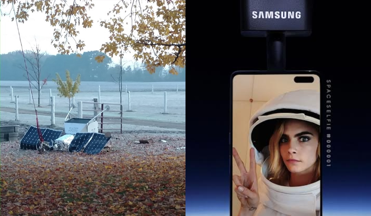 Samsung's 'SpaceSelfie' balloon crashed in a persons' yard