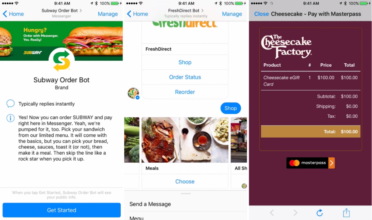 Subway + FreshDirect + Cheesecake Factory Messenger Chatbots