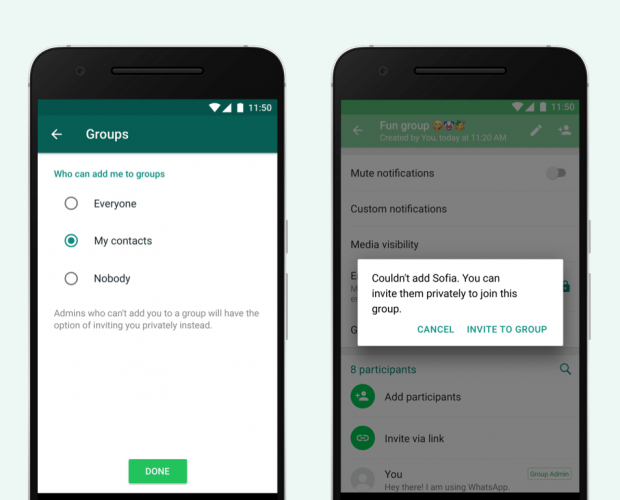 WhatsApp has updated its group privacy settings