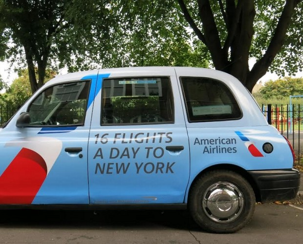 American Airlines links up with MediaCom to target people with digital ads via taxis