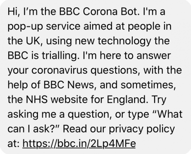 BBC launches Corona Bot on Messenger to tackle COVID-19 questions