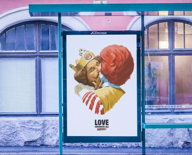 Burger King and McDonald's brand mascots kiss in Helsinki Pride campaign