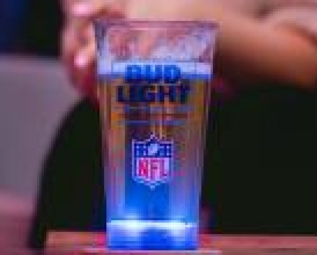 Bud Light glass lights up when the Patriots score