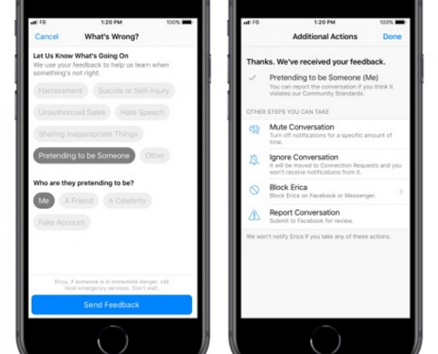 Facebook Messenger users can now report messages from within the app