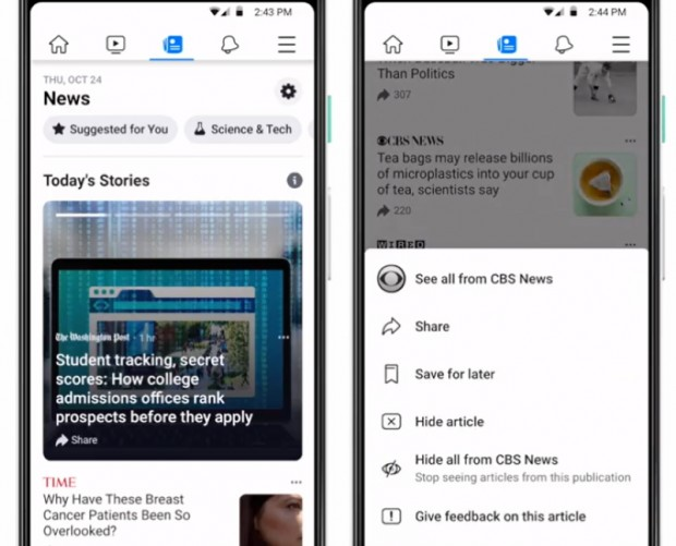 Facebook launches news hub test