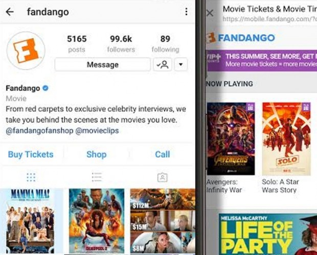 Fandango now lets moviegoers buy movie tickets through Instagram