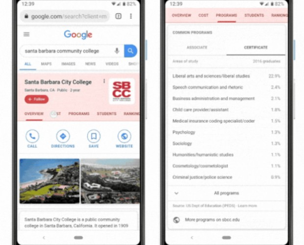 Google expands college search features