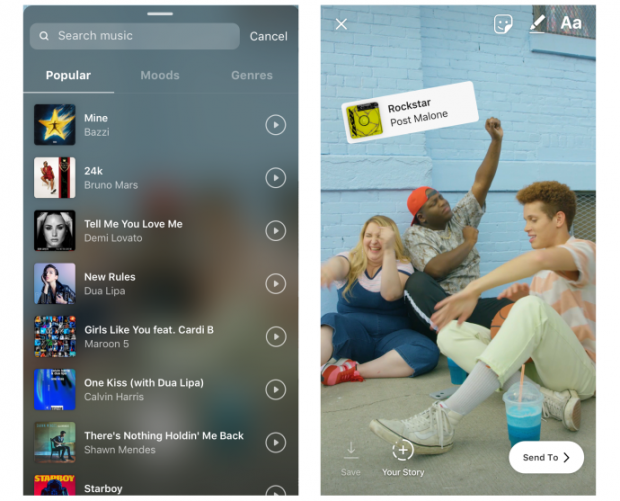Instagram hits the dancefloor, with music added to Stories