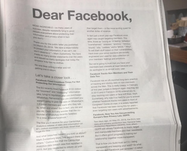Facebook competitor calls out platform in full-page ad over privacy