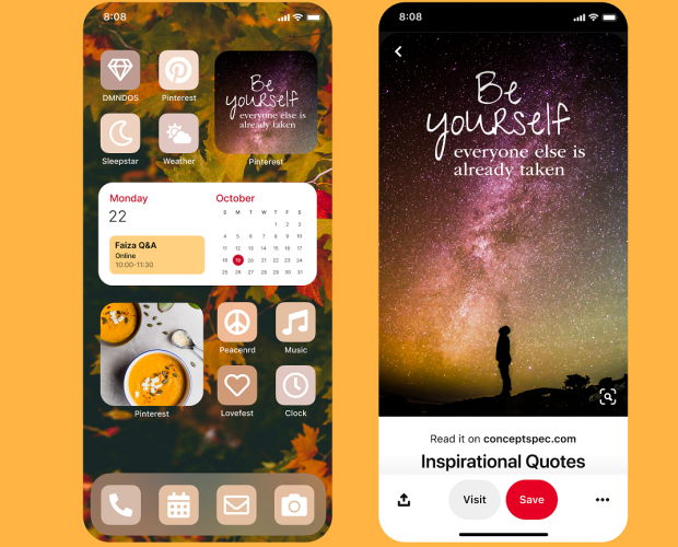 Pinterest launches iOS14 home screen widget