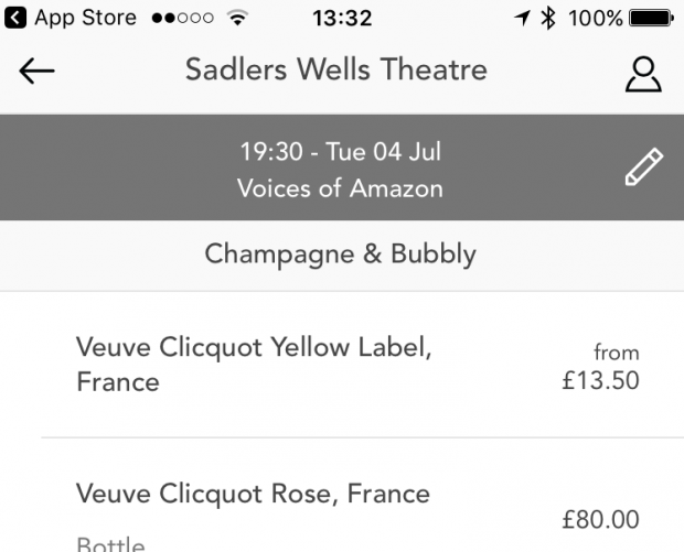 Sadler's Wells rolls out mobile pre-ordering app