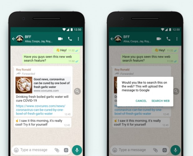 WhatsApp hands users the ability to easily check the validity of forwarded messages