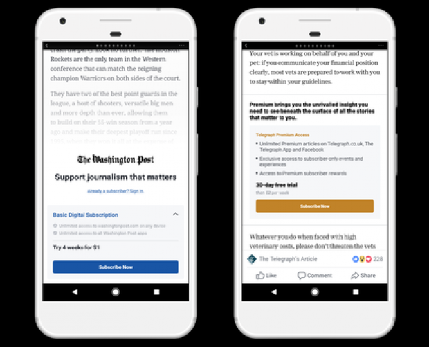 Facebook introduces subscription system for publishers