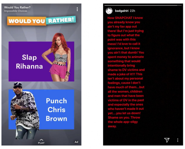Rihanna accuses Snapchat of