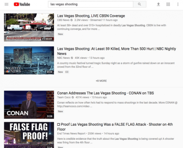 YouTube updates algorithm after search prioritises false reports on Las Vegas shooting